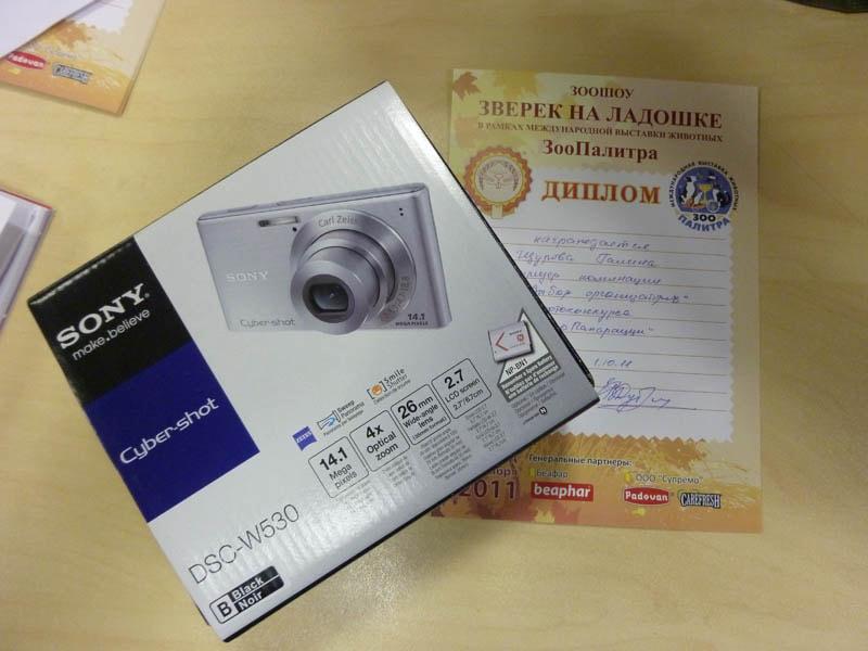 Специальный приз от организаторов фотоконкурса ЗооПапарацци фотоаппарат Sony Cyber-shot DSC-W530
